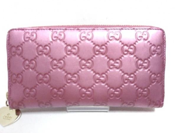 GUCCI(グッチ) 長財布 シマライン 278566 ピンク ラウンドファスナー レザー
