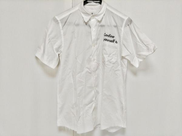 ユニフォームエクスペリメント 半袖シャツ サイズ1 S メンズ 白×黒 ダメージ加工