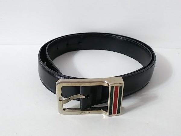 GUCCI(グッチ) ベルト 85・34 黒×シルバー×マルチ レザー×金属素材