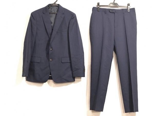 パーソンズ シングルスーツ サイズA6 メンズ美品  ネイビー ストライプ/3点セット