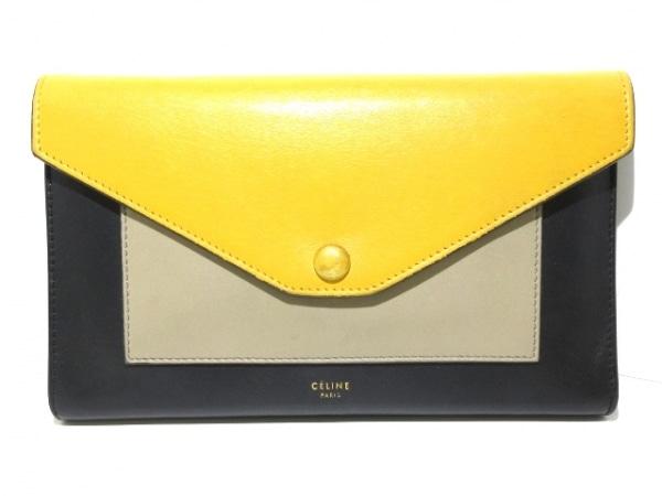 セリーヌ 財布 ラージフラップオンチェーン 1B.20MB 黒×イエロー×ベージュ レザー