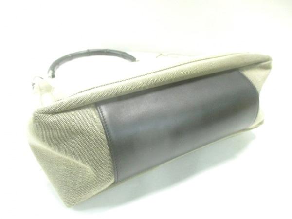 グッチ ハンドバッグ バンブー 35692 ベージュ×黒 ジャガード×レザー×バンブー