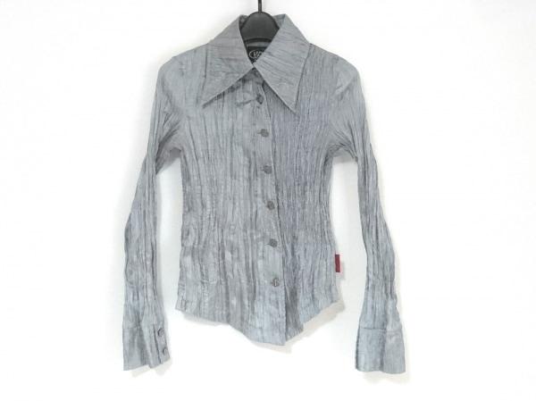 Ozz On(オッズオン) 長袖シャツブラウス レディース美品  ライトグレー しわ加工/刺繍