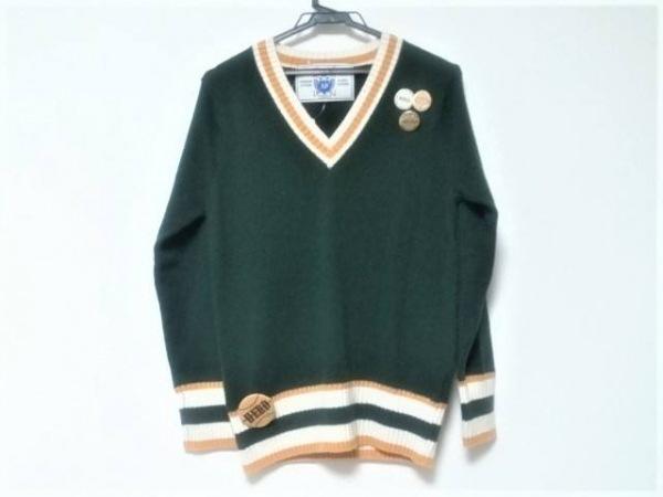 アパルトモン 長袖セーター レディース美品  ダークグリーン×アイボリー×イエロー