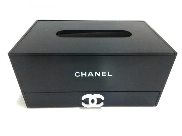 シャネル 小物美品  黒 ココマーク/ノベルティ/ティッシュボックス/小物入れ付き