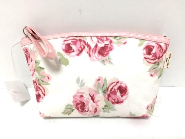ローラアシュレイ トートバッグ ピンク×白×マルチ ドット柄/花柄 ナイロン