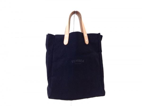 TEMBEA(テンベア) トートバッグ 黒×ライトブラウン Kodomo BEAMS キャンバス×レザー