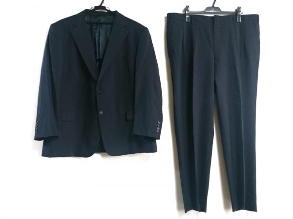 ゼニア シングルスーツ メンズ ダークネイビー ネーム刺繍/肩パッド