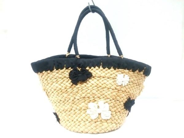 LUDLOW(ラドロー) ハンドバッグ ライトブラウン×黒×アイボリー かごバッグ/フラワー