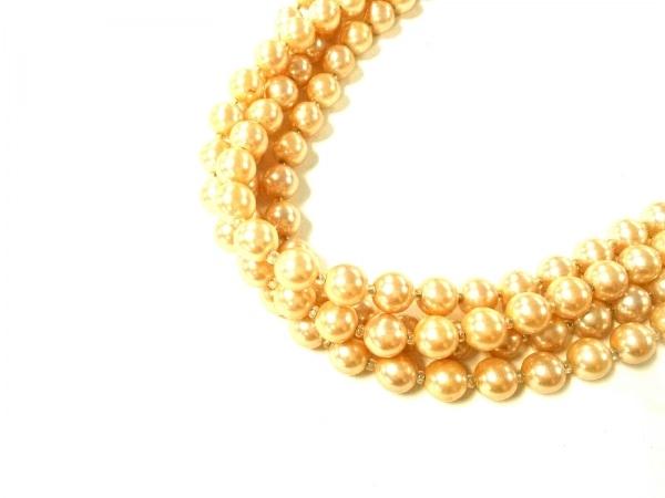 ジョルジオアルマーニ ネックレス フェイクパール×金属素材 ベージュ×ゴールド