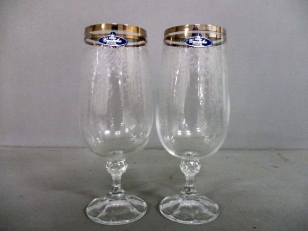 BOHEMIA(ボヘミア) ペアグラス新品同様  クリア×ゴールド ガラス