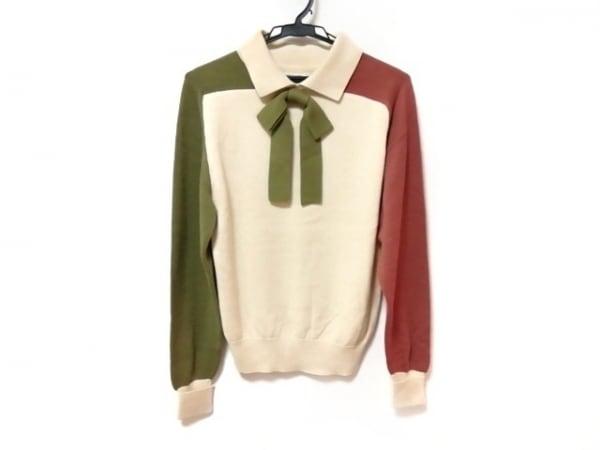 シャネル 長袖セーター サイズS レディース アイボリー×ダークグリーン×オレンジ