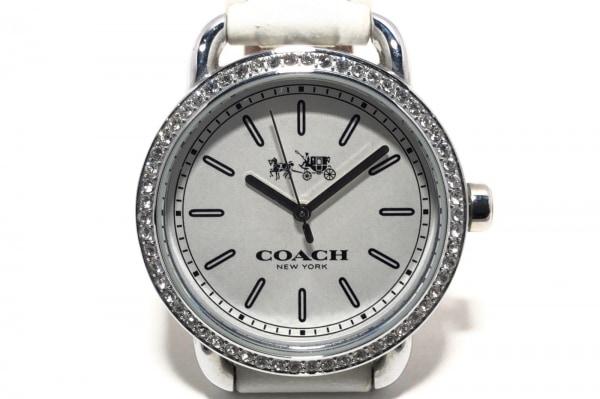 コーチ 腕時計 CA.105.7.95.1205S レディース 革ベルト/ラインストーンベゼル 白