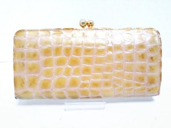 アンメートルキャレ 長財布 ベージュ がま口/型押し加工 エナメル(レザー)