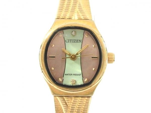 CITIZEN(シチズン) 腕時計 5930-B07220M レディース ピンクゴールド×ライトグリーン