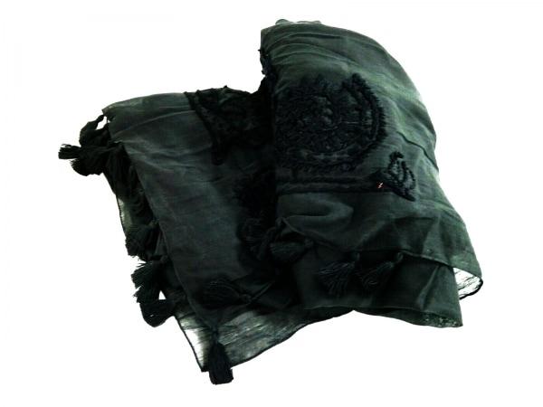 Altea(アルテア) ストール(ショール) 黒 刺繍 コットン