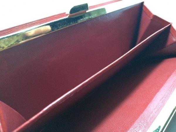 バレンチノガラバーニ 長財布 レッド がま口/イニシャル刻印 レザー×金属素材