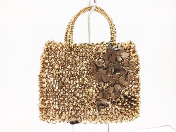 ANTEPRIMA(アンテプリマ) バッグ美品  ワイヤーバッグ ゴールド×ブラウン フラワー