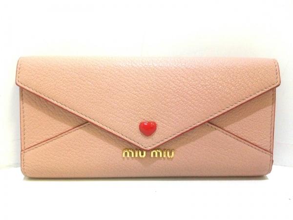 miumiu(ミュウミュウ) 長財布美品  マドラスラブ 5MH013 ベージュ レザー