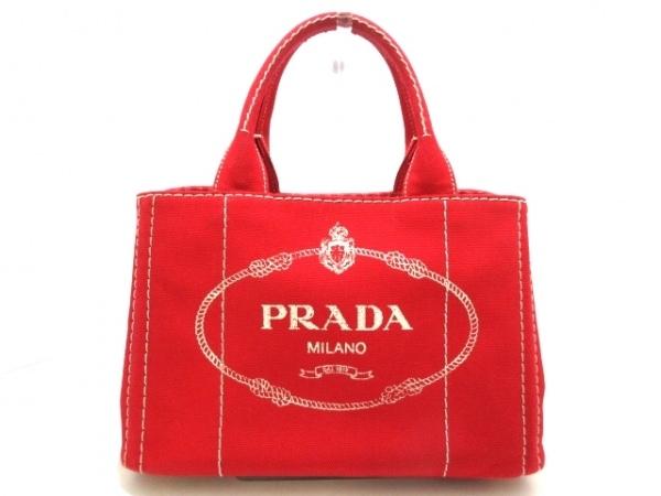 PRADA(プラダ) トートバッグ美品  CANAPA 1BG439 レッド×ベージュ キャンバス