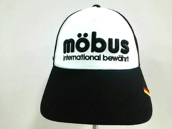 mobus(モーブス) キャップ 57-59cm新品同様  黒×アイボリー コットン×ポリエステル