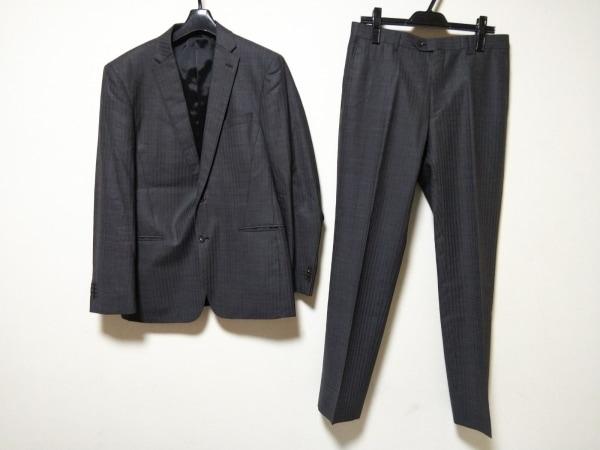 PERSON'S(パーソンズ) シングルスーツ メンズ グレー ストライプ/ネーム刺繍