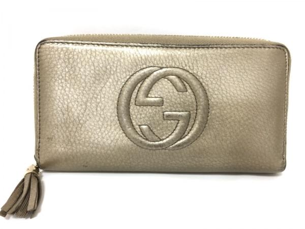 73596f52f560 GUCCI(グッチ) 長財布 ソーホー 308004 ベージュゴールド レザーの中古 ...