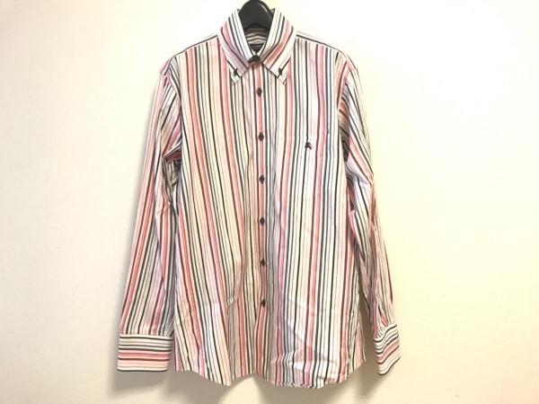 バーバリーブラックレーベル 長袖シャツ サイズ2 M メンズ 白×ピンク×マルチ