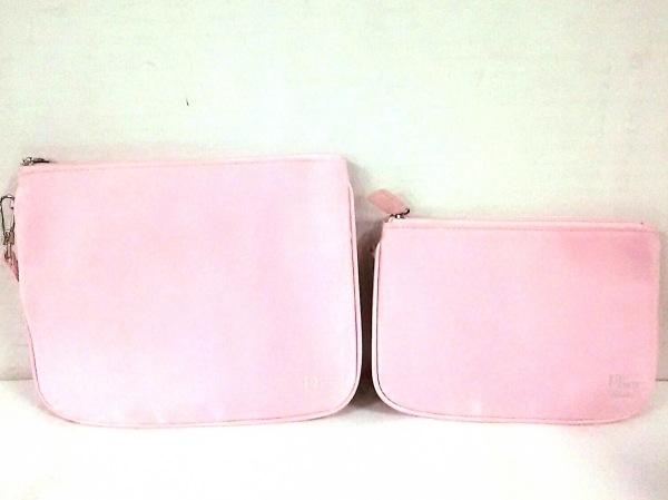 ディオールビューティー ポーチ美品  ピンク 2個セット 化学繊維×レザー