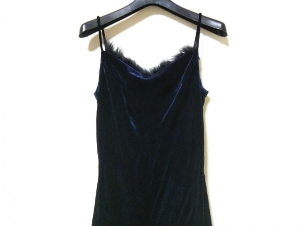 ラデファンス ドレス サイズ9 M レディース ネイビー ベロア/ファー(着脱可)
