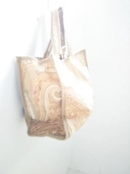 エトロ ハンドバッグ美品  ベージュ×ライトブラウン×マルチ ペイズリー柄 ナイロン