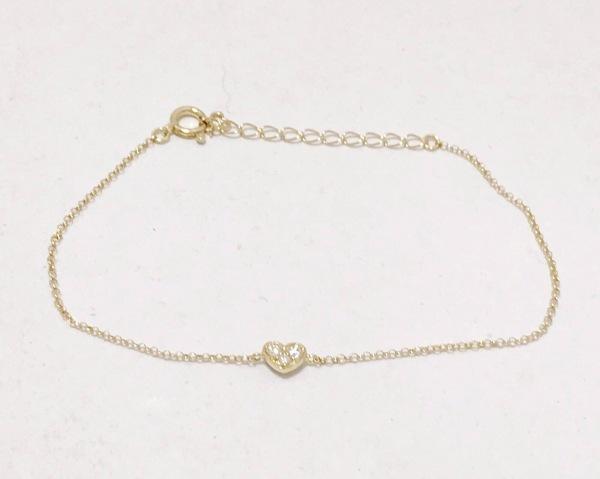 ポンテヴェキオ ブレスレット美品  K18YG×ダイヤモンド 0.04カラット/ハート