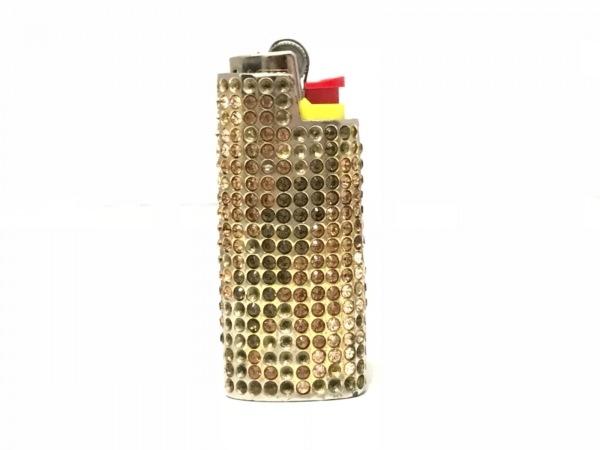 アッシュ&ダイヤモンド 小物入れ ゴールド×ピンク×ブラウン ライターケース