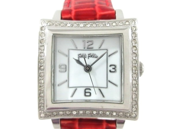 FolliFollie(フォリフォリ) 腕時計美品  WF4T118 レディース ラインストーンベゼル 白