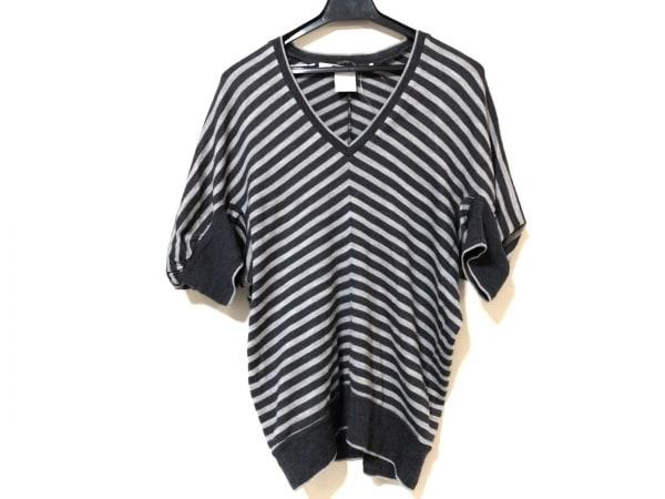 sakayori(サカヨリ) 七分袖セーター レディース ダークグレー×グレー ボーダー