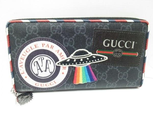 GUCCI(グッチ) 長財布 ナイトクーリエ GGスプリーム 496342 黒×レッド×マルチ