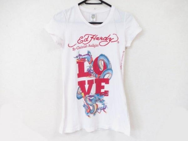 エドハーディー 半袖Tシャツ サイズXS レディース美品  ライトピンク×レッド×マルチ