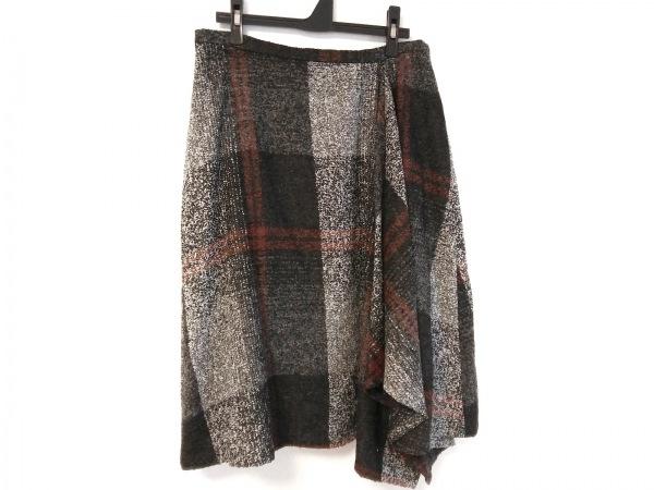 ジユウク ロングスカート サイズ44 L レディース ダークグレー×白×ブラウン