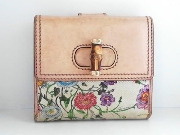 グッチ 2つ折り財布 フローラ/バンブー 138035 アイボリー×ベージュ×マルチ 花柄