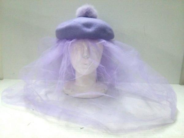 G.V.G.V.(ジーヴィジーヴィ) 帽子 0/S美品  パープル ウール×化学繊維×ラビット