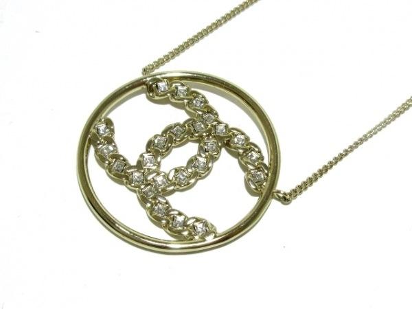 シャネル ネックレス美品  金属素材×ラインストーン シャンパンゴールド×クリア