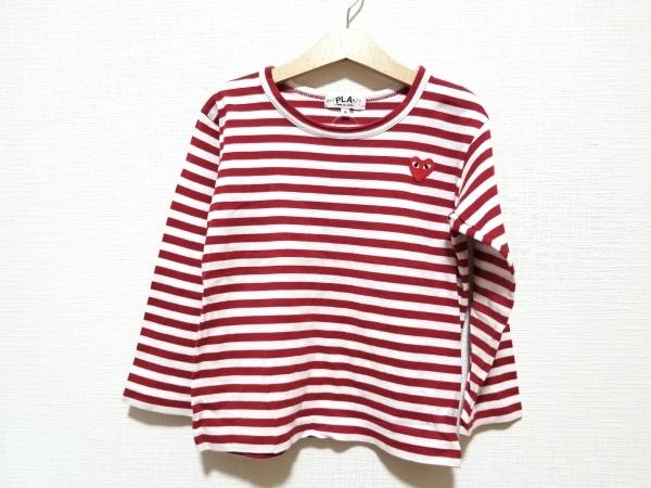 プレイコムデギャルソン 長袖Tシャツ サイズ6 M レディース美品  白×レッド