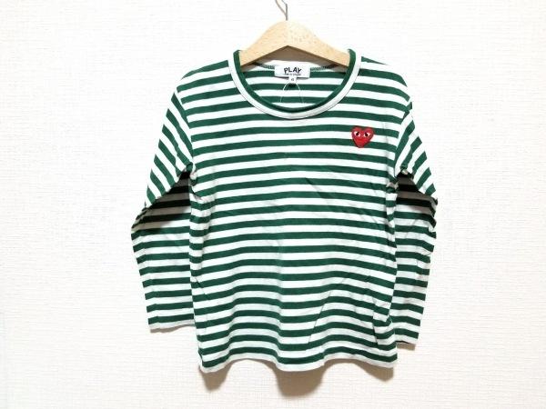 プレイコムデギャルソン 長袖Tシャツ サイズ6 M レディース 白×グリーン
