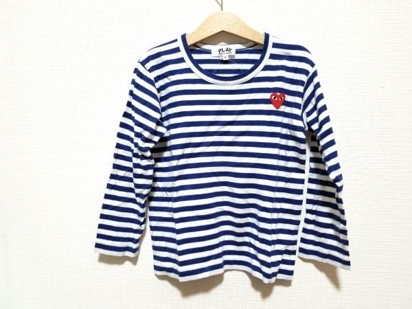 プレイコムデギャルソン 長袖Tシャツ サイズ6 M レディース美品  白×ブルー
