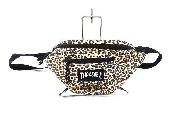 THRASHER(スラッシャー) ウエストポーチ ベージュ×黒×ブラウン 豹柄 ナイロン