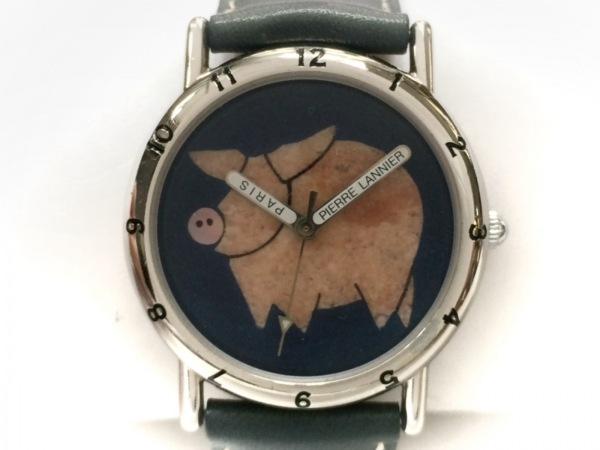 ピエールラニエ 腕時計美品  065.810 レディース 革ベルト ブルー×ベージュ