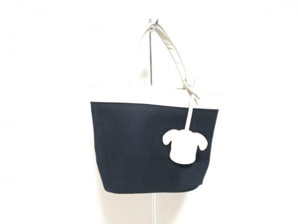 KITAMURA(キタムラ) ハンドバッグ ネイビー×白 コットン×レザー
