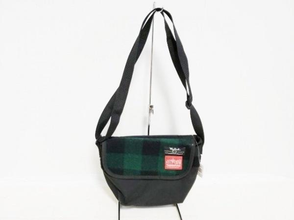 マンハッタンポーテージ ショルダーバッグ 黒×グリーン×ダークグリーン