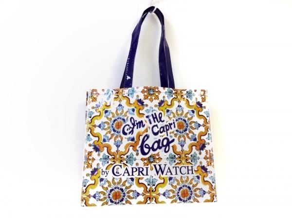 CAPRI WATCH(カプリウォッチ) トートバッグ 白×パープル×マルチ ビニール
