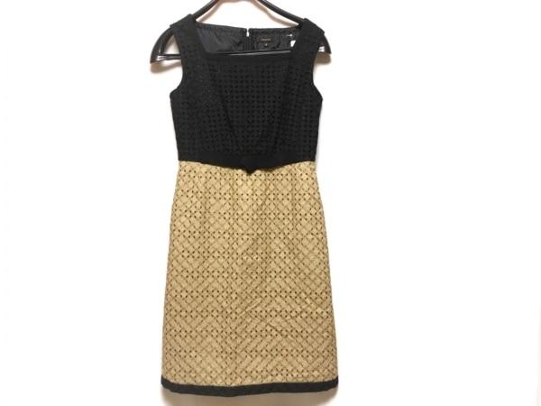 TOCCA(トッカ) ワンピース レディース ベージュ×黒 リボン/刺繍